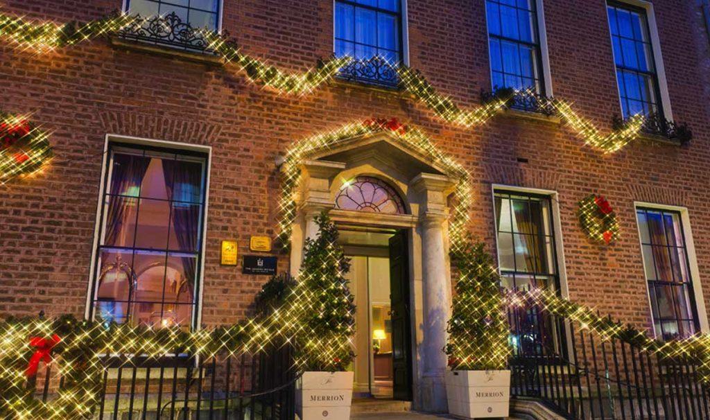 Merrion Hotel Dublin with Christmas lights