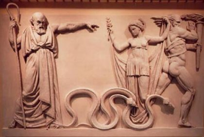 Saint Patrick driving snakes out of Ireland